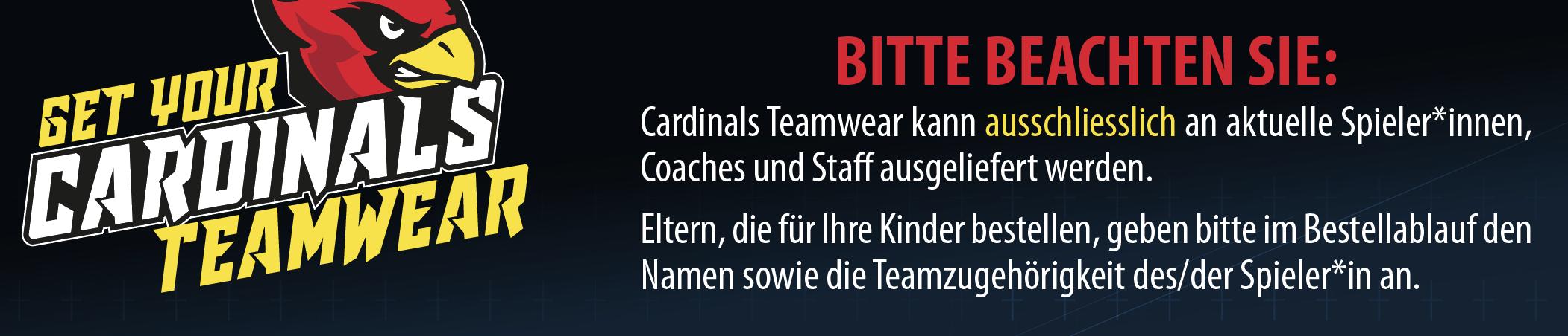 Hinweis Teamwear U19